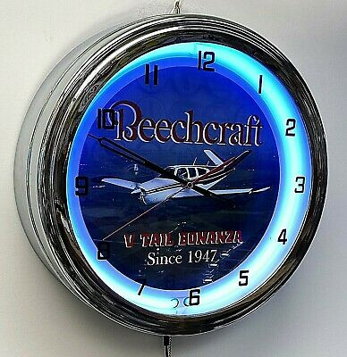 "Beechcraft Bonanza V Tail 16"" Blue Neon Clock Airplane Aircraft"