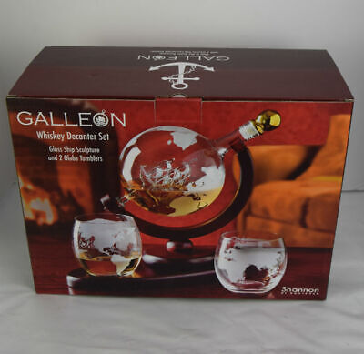 Galleon Whiskey Globe Decanter set with 2 Etched Globe Whisky Glasses
