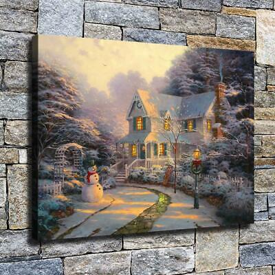 """12""""x16""""Christmas snow scene Poster HD Canvas Painting Home Decor Picture Wall"""
