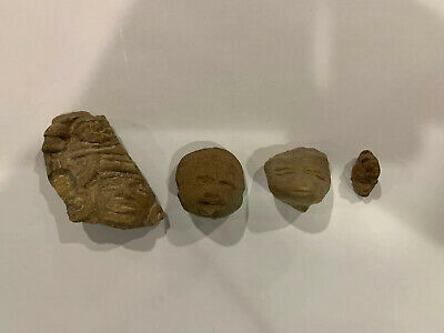 Pre Columbian Authentic Artifact Pottery Mexico Carved Face Aztec Mayan Lot 4 Pc