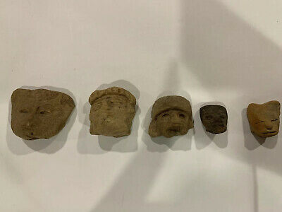 Pre Columbian Authentic Artifact Pottery Mexico Carved Face Aztec Mayan Lot 5 Pc