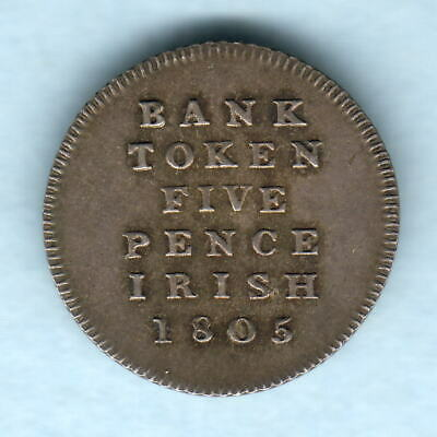 Ireland.   1805 George 111 -  5 Pence Bank Token..  aEF - Trace Lustre