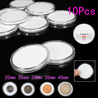 10Pcs Clear Round Plastic Coin Capsule Container Storage Box Holder Case 20-40mm