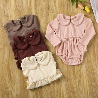 UK Newborn Baby Boy Girl Romper Jumpsuit Bodysuit Outfits Knitted Cotton Clothes