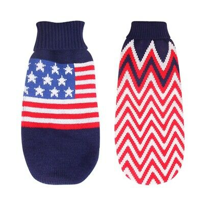 UK Pet Dog Puppy Warm Christmas Outfits US flag Sweater Small Dogs Clothes