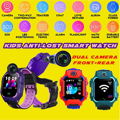 2 CAMERA Anti-lost LBS Tracker Smart Kids Boys Watch SOS Call For iOS Android UK