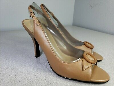 WORTHINGTON Sz 8.5 M Heels Light Brown Leather Peep Toe Womens Shoes Sz 8.5 EUC