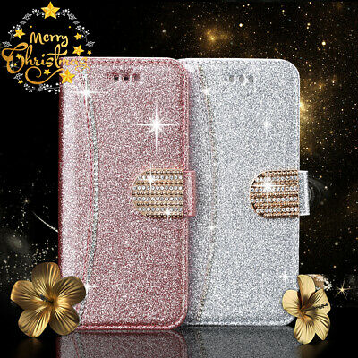 For iPhone XR XS Max 7 8 Plus 6S Christmas Bling Diamond Wallet Case Cover Gifts
