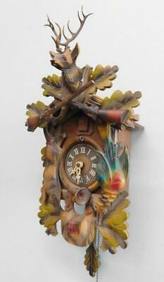Large German Black Forest Hand Carved Wooden Cuckoo Clock REGULA Movement