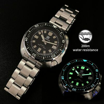 Men Automatic Watch Steeldive 44MM Stainless Steel Diver Watch 200m Water Resist