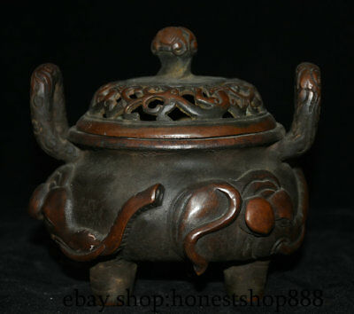 "5"" Marked Old Chinese Purple Bronze Elephant Handle Legs incense burner Censer"