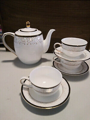 Teavana White Confetti China Tea Set, Gold Trim, Never Used -7 Piece Set