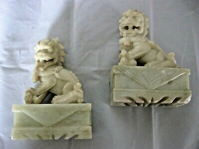 Pair Off Vintage chinese Soapstone Foo Dogs Bookends