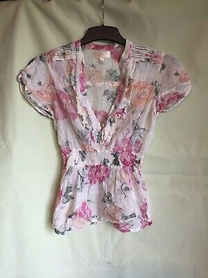 River Island Womens White Floral Print Cotton/Lurex Short Sleeve 12 (290)