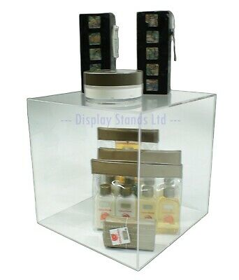 Clear Acrylic 250mm 5 Sided Cube Box Dispenser Display Counter Retail (G94)