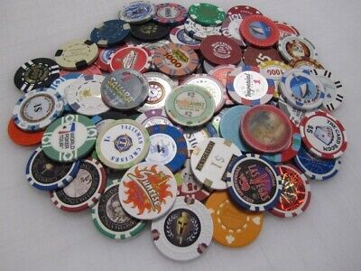 77 Casino Gaming Poker Chip Lot Las Vegas $1 New & Used Chipco Paulson Clay
