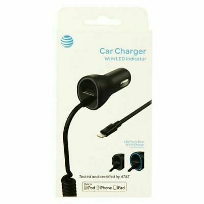 AT&T Apple Lightning Car Charger W/ extra USB Port iPhone 7 8 Plus/XR/X/XS/XSMAX