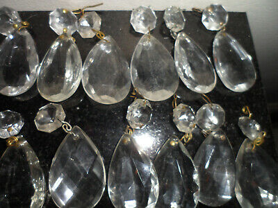 Antique Clear Glass Crystal Prism Decoration Lamp Repair Home Craft 19 PC