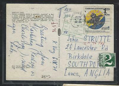 Great Britain (P0511B) 1971  Incoming Postage Due 2P Ppc From Czechoslovakia