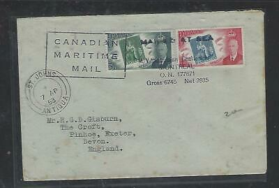 Barbados Cover (P3010B) 1953 Kgvi Stamp Cent 3C+4C Paquebot Cover From Antigua T