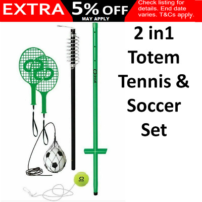 2 in1 Totem Tennis & Soccer Set Adjustable Outdoor Sports Game Kids Adults Beach