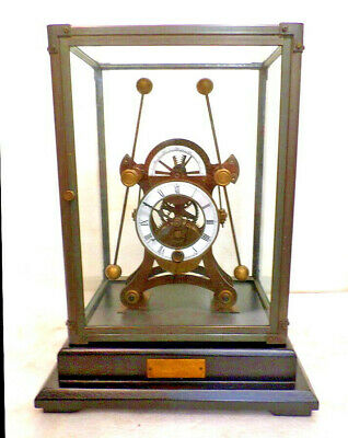 Antique Style Brass Harrison Grasshopper Clock With Brass/Glass Dome--Very Nice