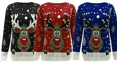 Kids Girls Boys And Ladies Xmas Jumper Rudolph Reindeer Snowflakes Bambi Christm
