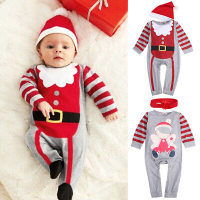 US Newborn Christmas Reindeer Romper Jumpsuit Baby Boy Girl Clothes Outfits Hat