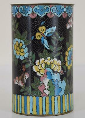 Antique Chinese Cloisonne Brush Pot Butterfly Flowers Black Key Ground Qing
