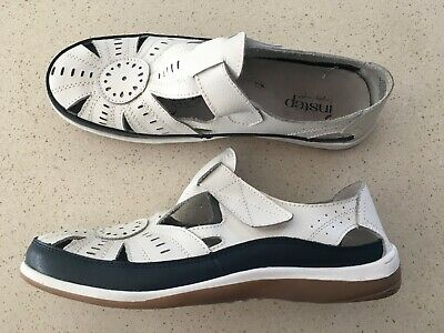 INSTEP Bodie, Leather Nautical (White/French Navy) Flat Comfort Shoe Sz39 Wide
