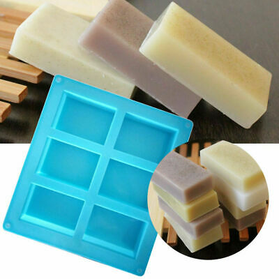 1/2X 6-Cavity Rectangle Soap Mold Silicone Craft DIY Making Homemade Cake Mould