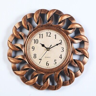 Retro Gold Round Wall Clock Timer Home Silent Vintage Rustic Shabby Chic Craft