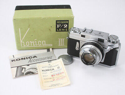 KONICA III, 48/2 HEXANON, SOME DUST, BOXED, BAD SHUTTER, AS-IS/cks/188543