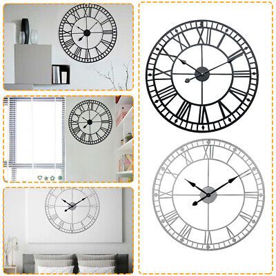 40CM Large Outdoor Garden Wall Clock Big Roman Numerals Giant Open Face Metal