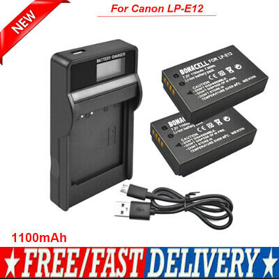 2X 1100mAh LP-E12 Replacement Battery Pack +LCD Charger for Canon EOS M2 M10 M50
