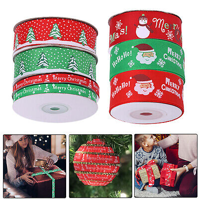 Merry Christmas Grosgrain Ribbon Happy Xmas Snowflakes Ribbons for Wrapping Gift
