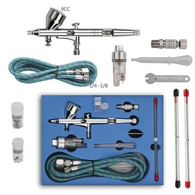Double-Action Gravity Feed Airbrush Kit G-180K Air Brushes Spray Gun Art +Box