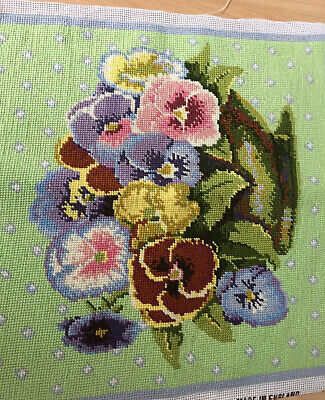 EHRMAN PANSIES BOWL ON A GREEN CUSHION Kaffe Fassett completed tapestry