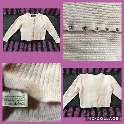 Girl 2-3 Pale Pink 100% Thick 2-ply Cashmere Cardigan from Harrods RRP: £140