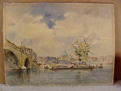 Antique Wolfgang Tritt Berlin Architectural Cityscape W/C Painting