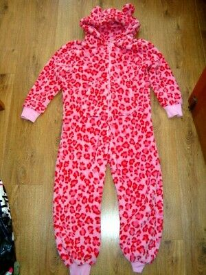 Next Girls Leopard Print Hooded Fleece All-In-One Age 8 Yrs