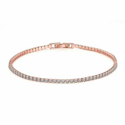 "Square Link Tennis Bracelet with Round Diamonds in 14K Rose Gold-Over 7.25"" 10Ct"