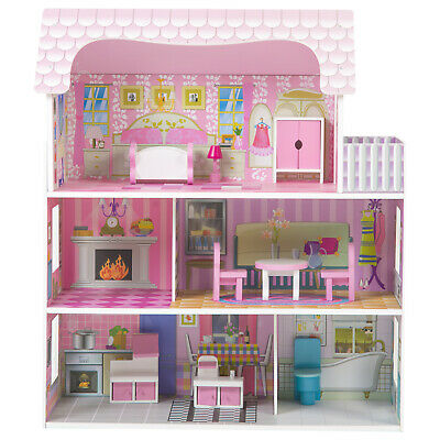 Large Wooden Doll House with Furniture Dollhouse Toy for Girls Christmas Gift UK