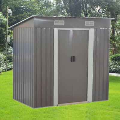 New Grey 6x4ft Garden Shed Metal Pent Roof Outdoor Storage With Free Foundation