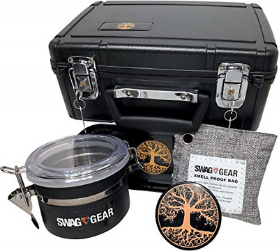 Large Stash Box Combo with Lock - Locking Smell Proof Case with Grinder Stash -