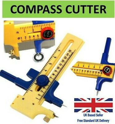 CLEARANCE LOT 782341 COMPASS CUTTER FOR CUTTING CIRCLES PAPER CARD LEATHER VINYL