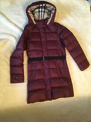 NWT Burberry Girls Dalesford Hooded Down Puffer Coat Jacket, Size 14y/164cm