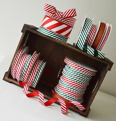Christmas Ribbon Bertie's Bows Candy Stripe Red White Green Craft Gift Wrapping