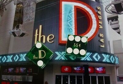 The D Hotel Casino - Green Craps Table Dice - Las Vegas Nv - Matched Pair - 554