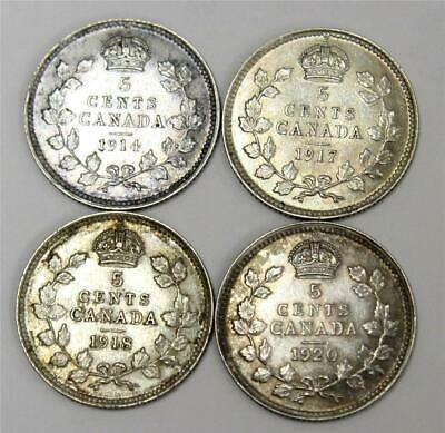 1914 1917 1918 and 1920 Canada 5 cent silver coins 4-coins EF45 or better